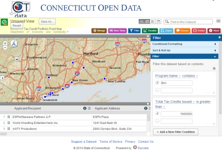 Screenshot taken from Connecticut's new Open Data website